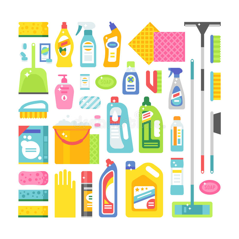 Bringen Sie die Reinigungshygiene und flache Vektorikonen der Produkte unter, die eingestellt werden stock abbildung