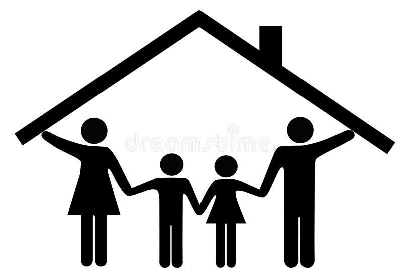 Bringen Sie Familienmuttergesellschaft und -kinder unter Hauptdach unter lizenzfreie abbildung