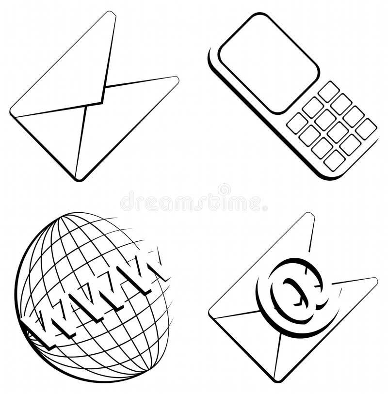 Bringen Sie Info-Web-Ikonen in Kontakt lizenzfreie abbildung