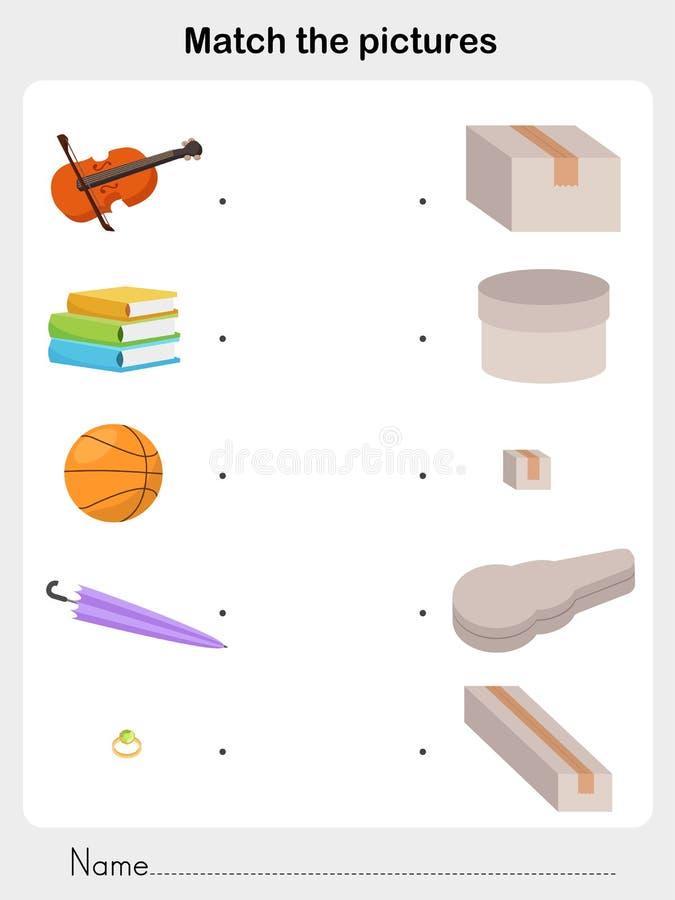 Bringen Sie Kasten mit Gegenstand - Arbeitsblatt für Bildung zusammen lizenzfreie abbildung