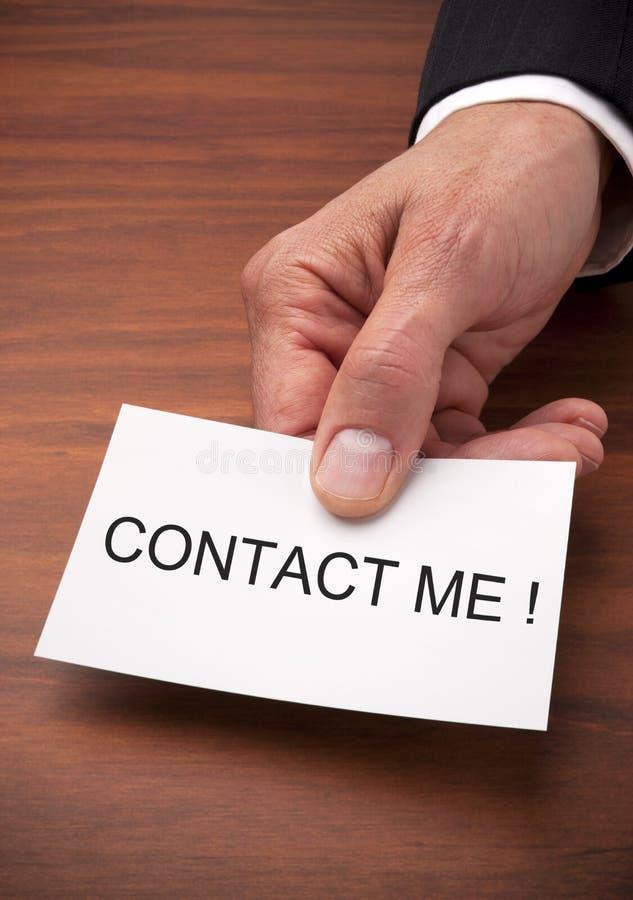 Bringen Sie mich Visitenkarte in Kontakt lizenzfreies stockbild