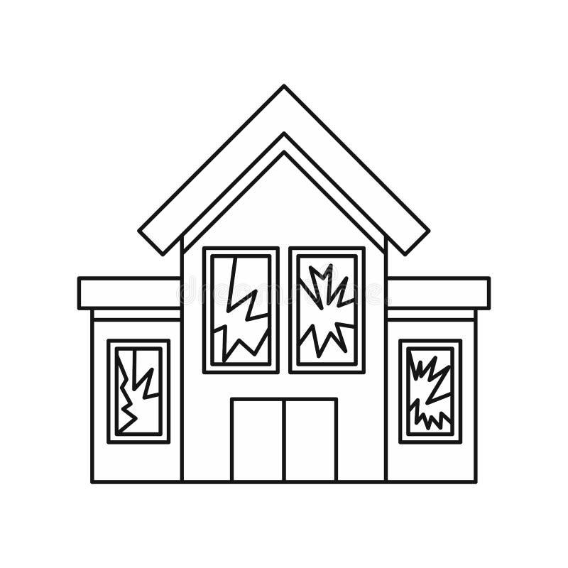 Bringen Sie mit Ikone der zerbrochenen Fensterscheiben, Entwurfsart unter stock abbildung