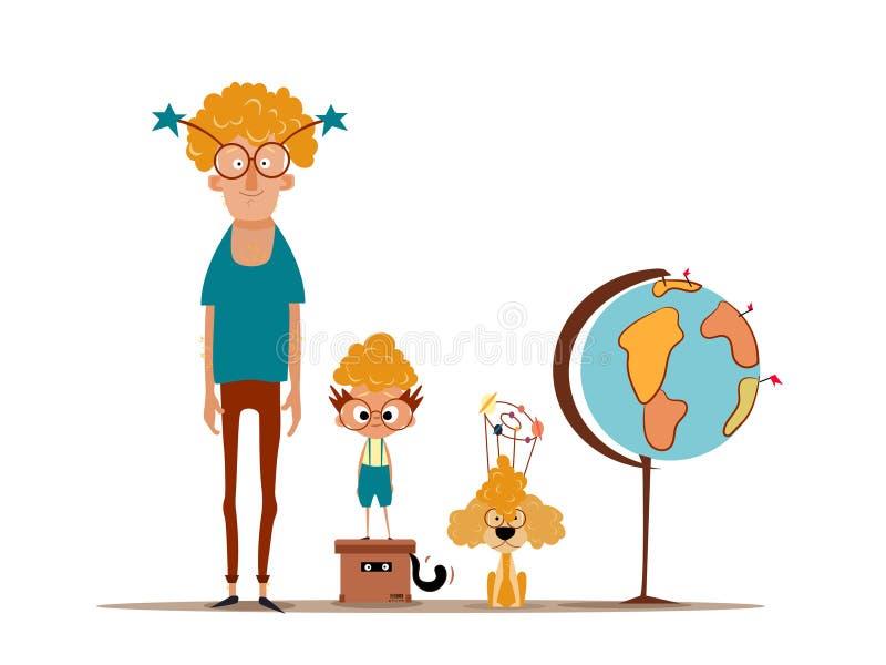 Bringen Sie mit seinem Sohn und Hund/Familienzeit/Spaß mit Vati hervor lizenzfreie stockbilder