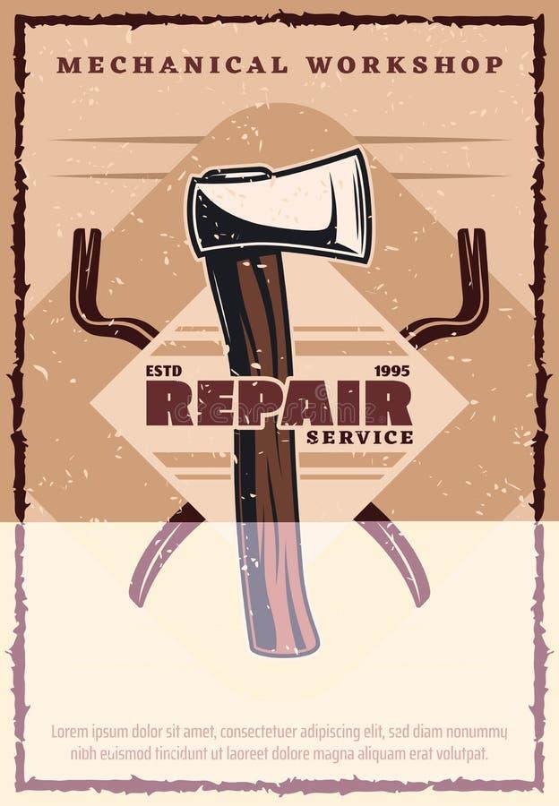 Bringen Sie Reparaturservice-Weinlesefahne mit Arbeitswerkzeug unter lizenzfreie abbildung