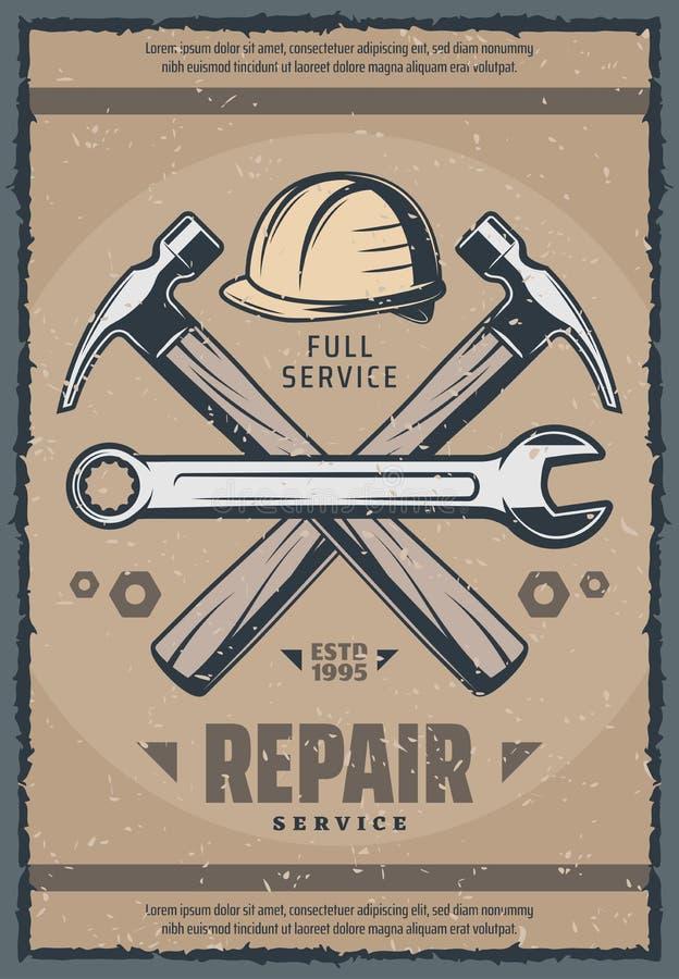 Bringen Sie Retro- Fahne des Reparaturservices des alten Arbeitswerkzeugs unter stock abbildung