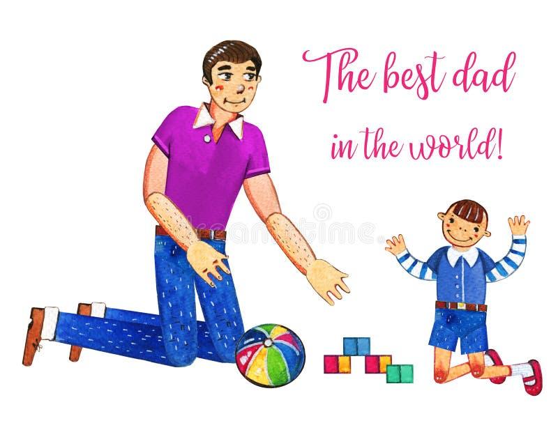 Bringen Sie ` s Tageshand gezeichnete Aquarellillustration mit dem Vater hervor, der mit Sohn spielt Getrennt auf weißem Hintergr vektor abbildung