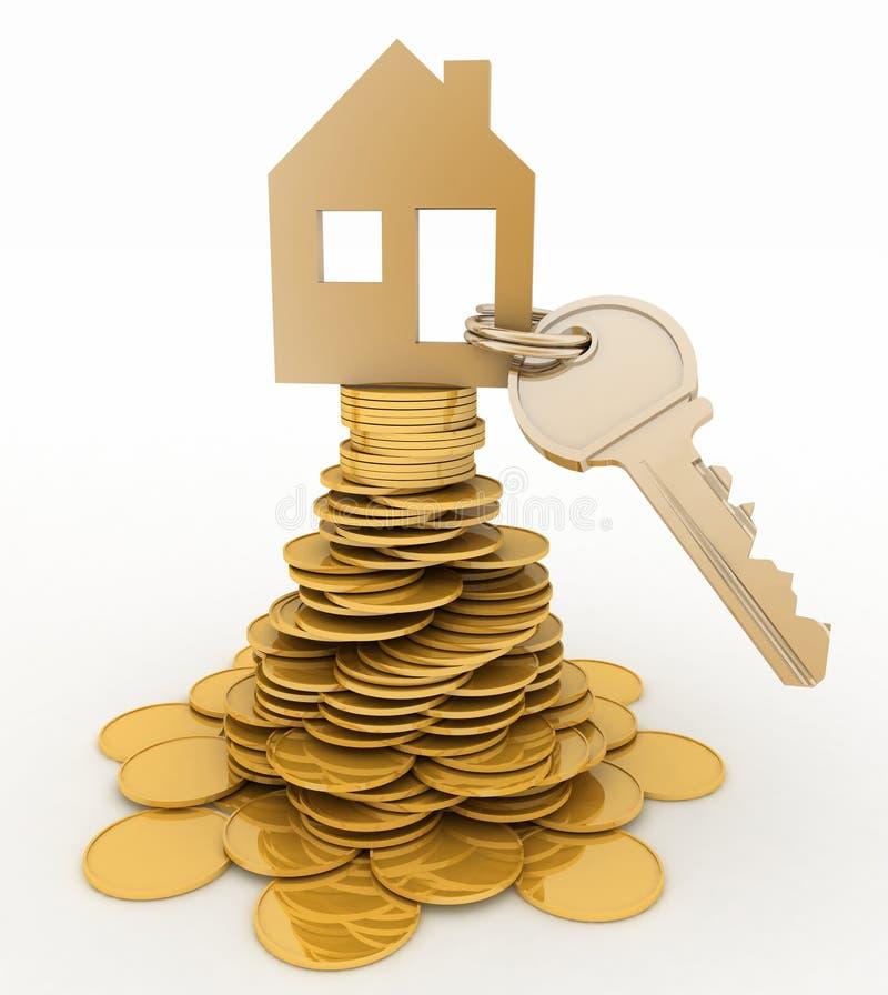 Bringen Sie Symbol mit Schlüssel auf Stapel von Goldmünzen unter lizenzfreie abbildung