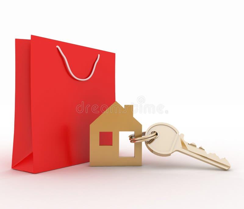 Bringen Sie Symbolsatz mit Schlüssel und Papiereinkaufstasche unter lizenzfreie abbildung