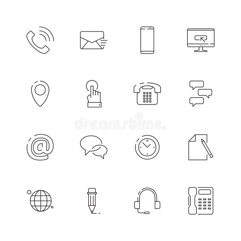 Bringen Sie uns Ikone in Kontakt Internet-Websitegeschäftssymbole für dünne Linie des Kontakt- oder Stützseitentelefonumschlagkar vektor abbildung