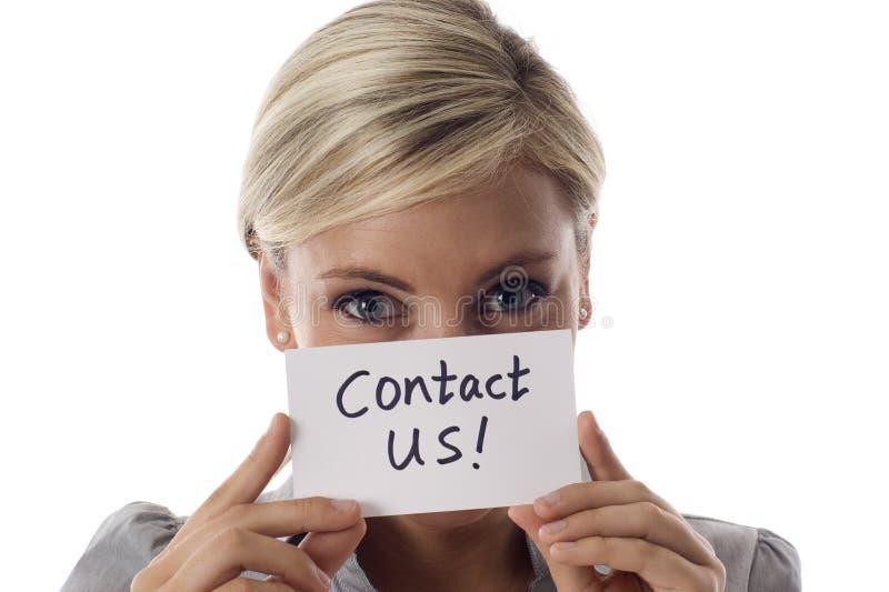 Bringen Sie uns in Kontakt! lizenzfreie stockfotografie
