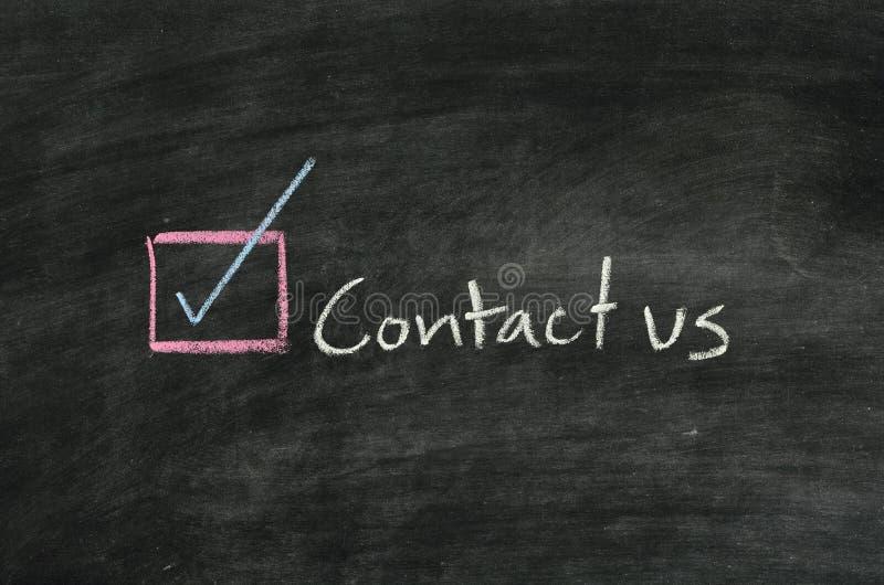 Bringen Sie uns und Taste in Kontakt stockfotografie