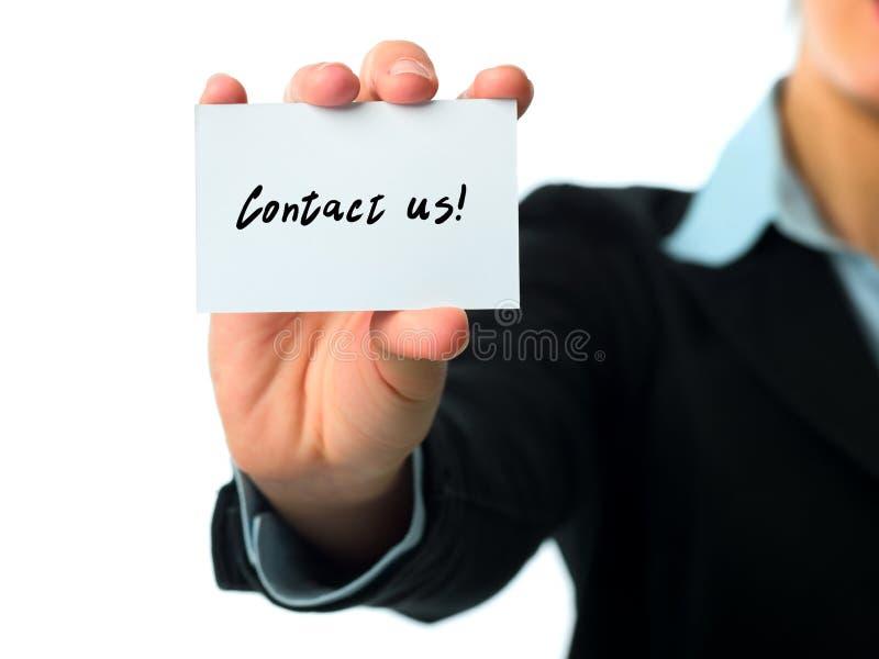 Bringen Sie uns Visitenkarte in Kontakt lizenzfreie stockfotografie