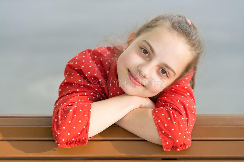 Bringing beauty outside with skincare. Beauty look of little skincare model. Adorable small girl with healthy young face royalty free stock image