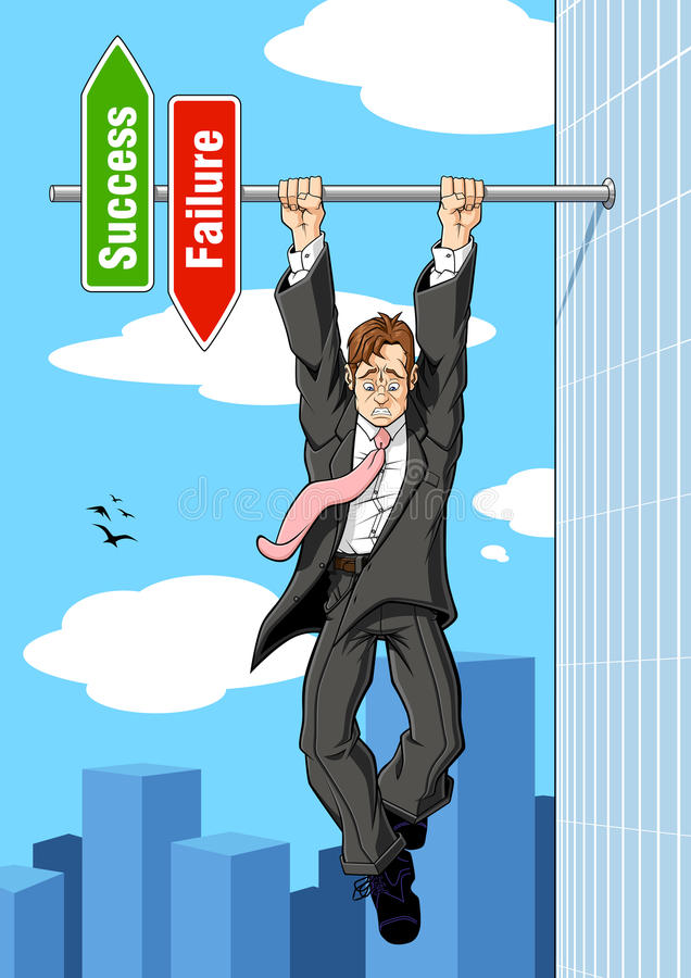 The brink of failure. Conceptual illustration relating to imminent failure. A businessman hanging on to an horizontal pole of the success and failure sign: he is vector illustration