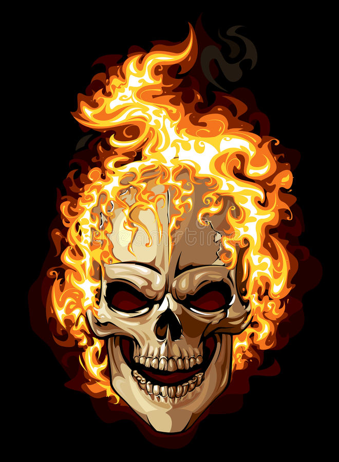 Brinna skalle stock illustrationer