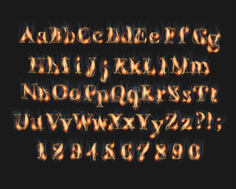 Brinnande alfabet- och nummerstilsort för brand royaltyfri illustrationer
