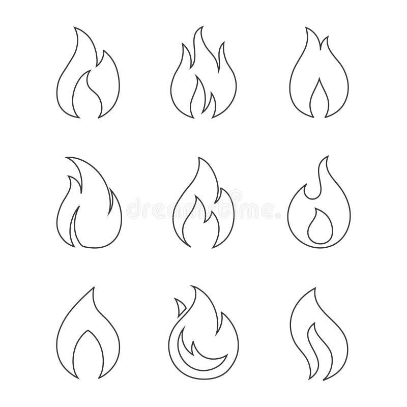 Brinnande brandöversiktssymboler på vit bakgrund stock illustrationer