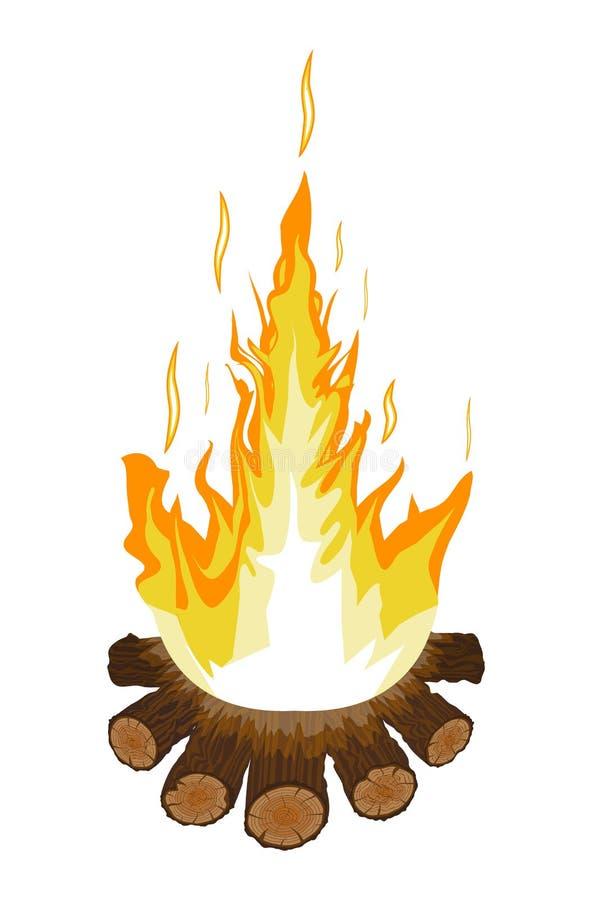 Brinnande brasa eller lägereld Journaler och brand vektor illustrationer