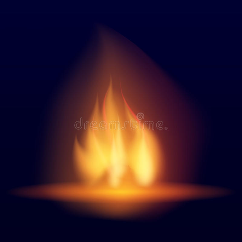 Brinnande brasa för vektor Varm flimrande flamma med gnistor flamm tungor Fladdrande av en fackla Ljus bränningeffekt av en stear royaltyfri illustrationer