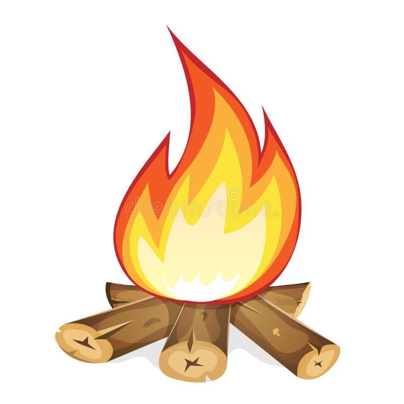 Brinnande brasa med trä vektor illustrationer