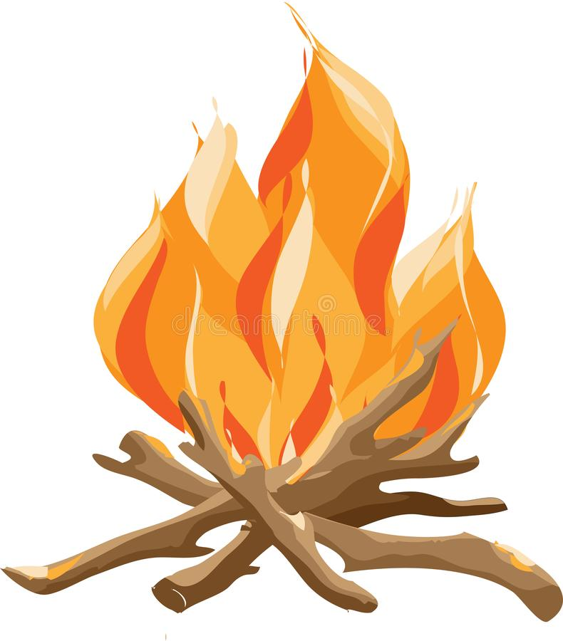 Brinnande brasa med tr? Illustration f?r vektortecknad filmstil av brasan royaltyfri illustrationer