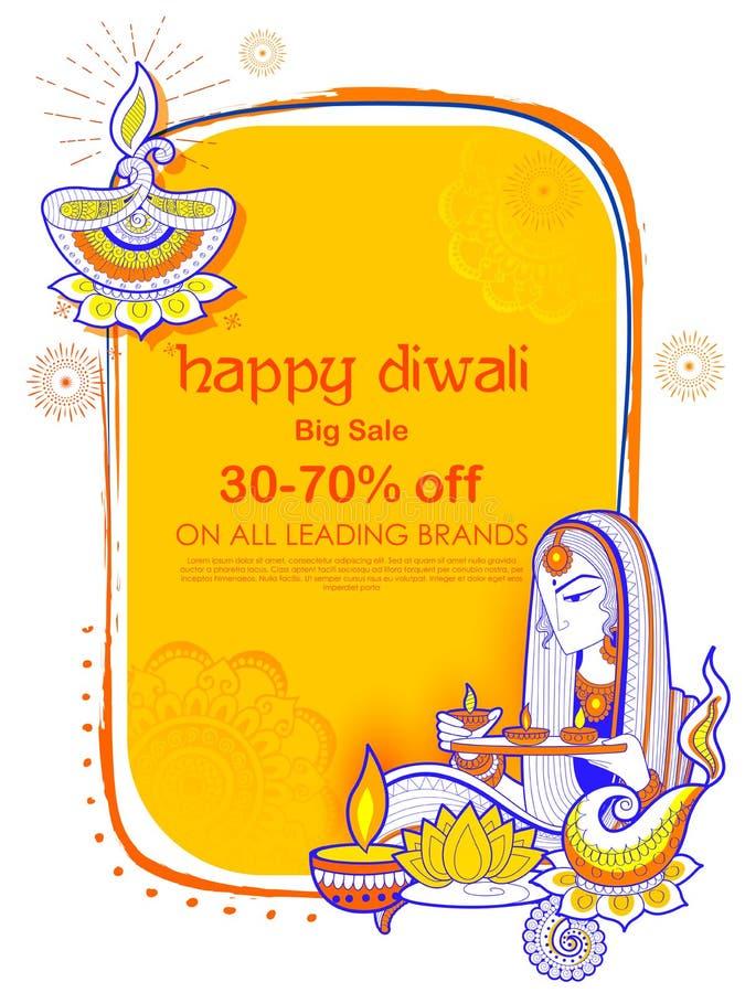 Brinnande diya för dam på lycklig bakgrund för annonsering för Diwal ferieSale befordran stock illustrationer