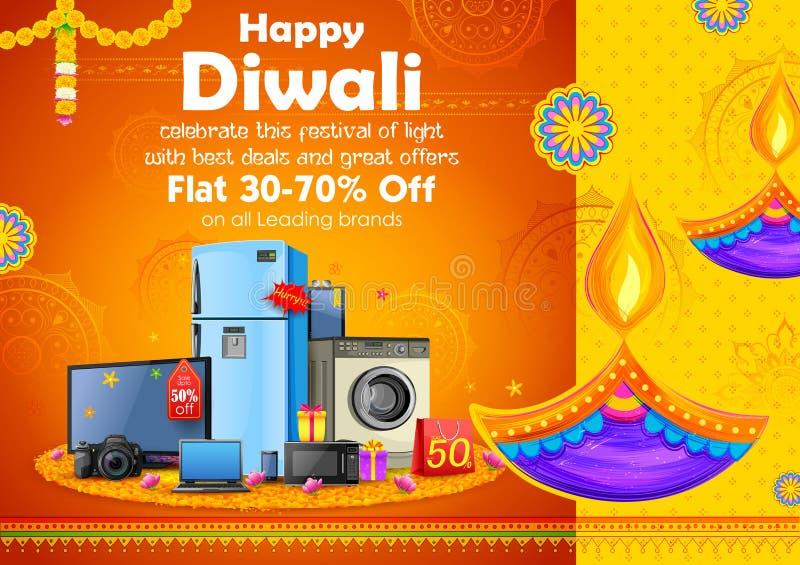 Brinnande diya på lycklig bakgrund för annonsering för Diwali ferieSale befordran för ljus festival av Indien stock illustrationer
