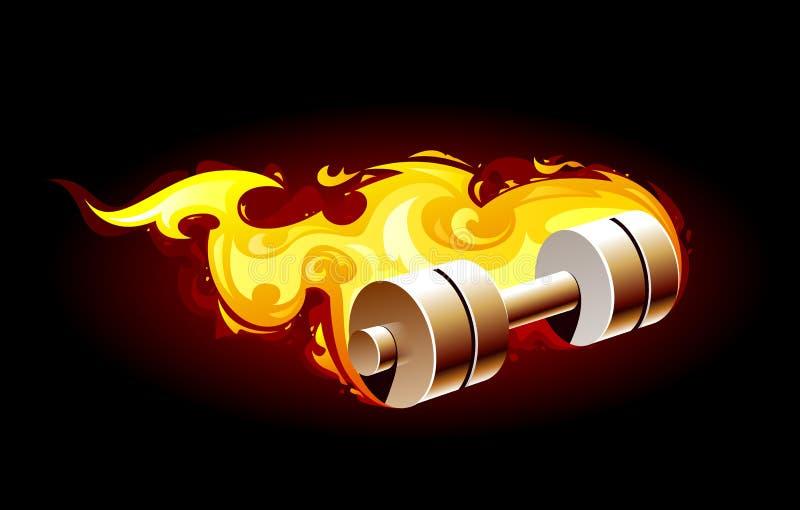 Brinnande dumbell vektor illustrationer