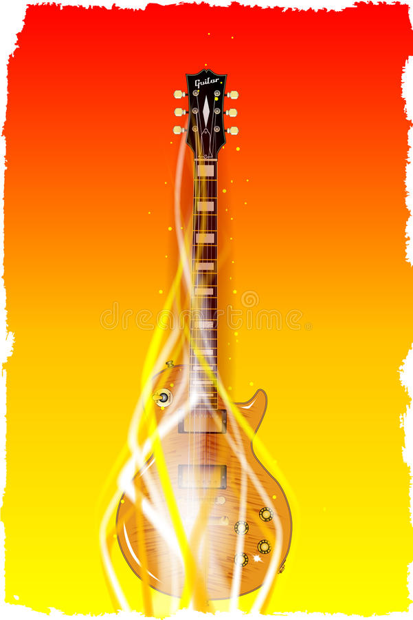 Brinnande fast elektrisk gitarr vektor illustrationer