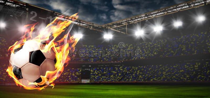 Brinnande fotbollboll på stadion stock illustrationer