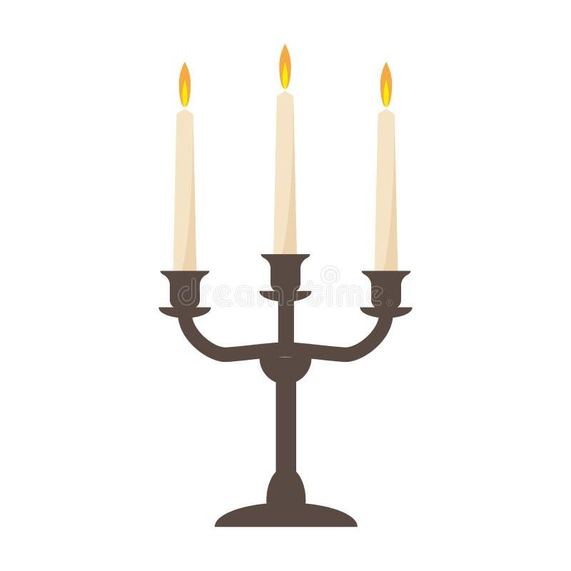 Brinnande gammal ljusstake för stearinljustappningvektor bakgrund isolerad white vektor illustrationer