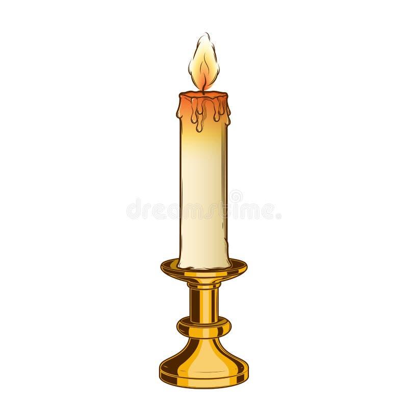Brinnande gammal stearinljus och tappningmässingsljusstake som isoleras på en vit bakgrund Färglinje konst retro design stock illustrationer