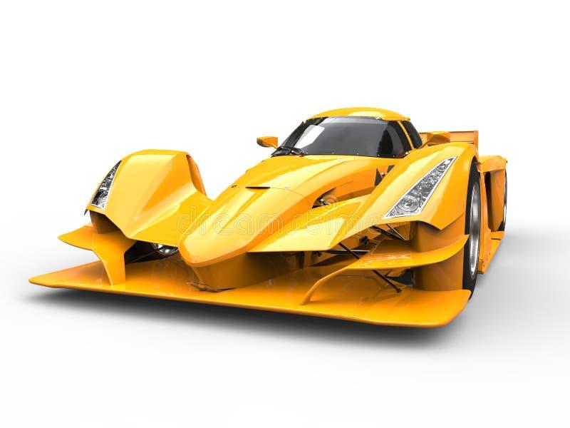 Brinnande gul modern toppen sportbil - closeupskott royaltyfri illustrationer