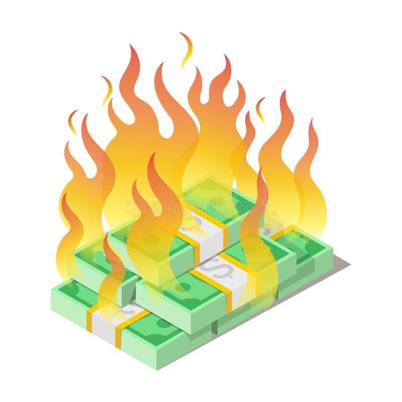 Brinnande hög av amerikanska dollar, sedlar, borttappat begrepp för pengar stock illustrationer
