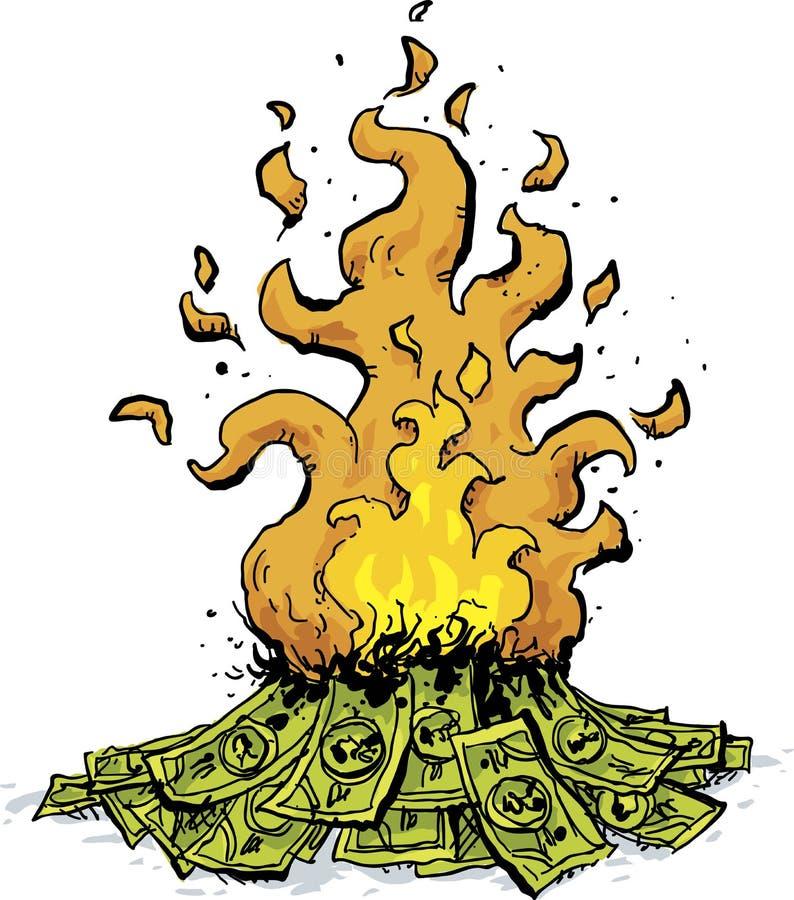 Brinnande hög av kassa stock illustrationer