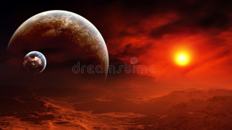 Brinnande himmel för episk främmande planet royaltyfri illustrationer
