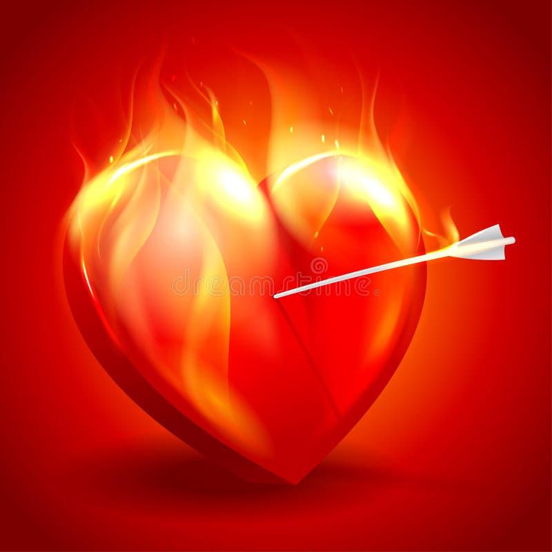 Brinnande hjärta med pilen. royaltyfri illustrationer