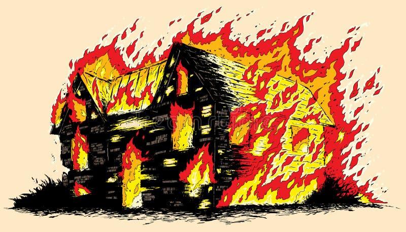 Brinnande hus stock illustrationer