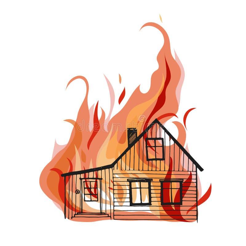 Brinnande hus som isoleras på vit bacground vektor illustrationer