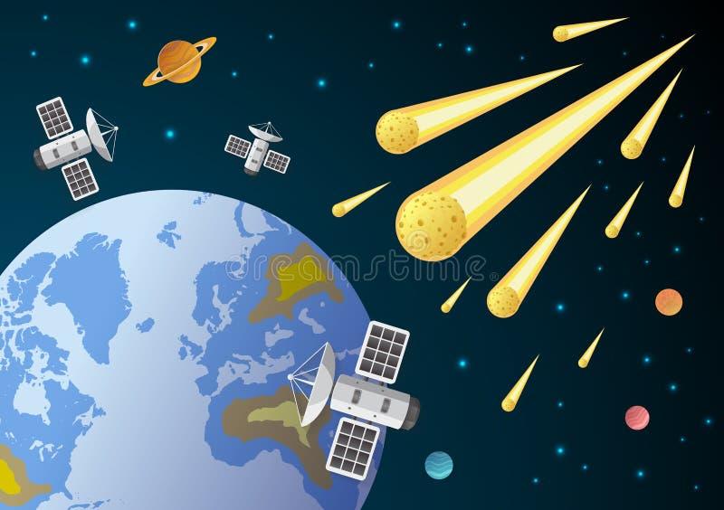 Brinnande kometflyg i utrymme till planetjord stock illustrationer