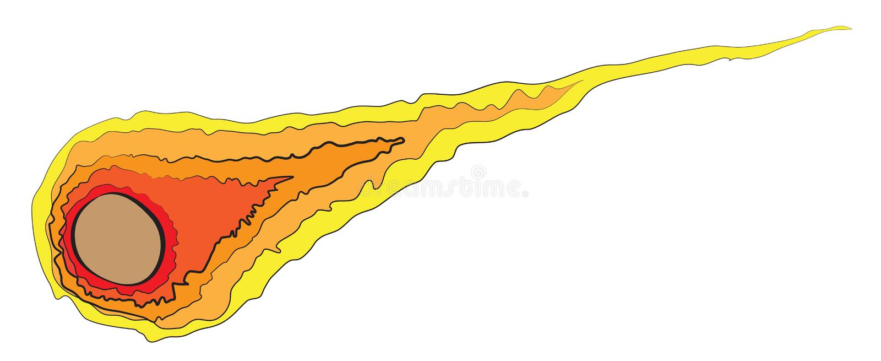 Brinnande kometflygfrew utrymmet vektor illustrationer