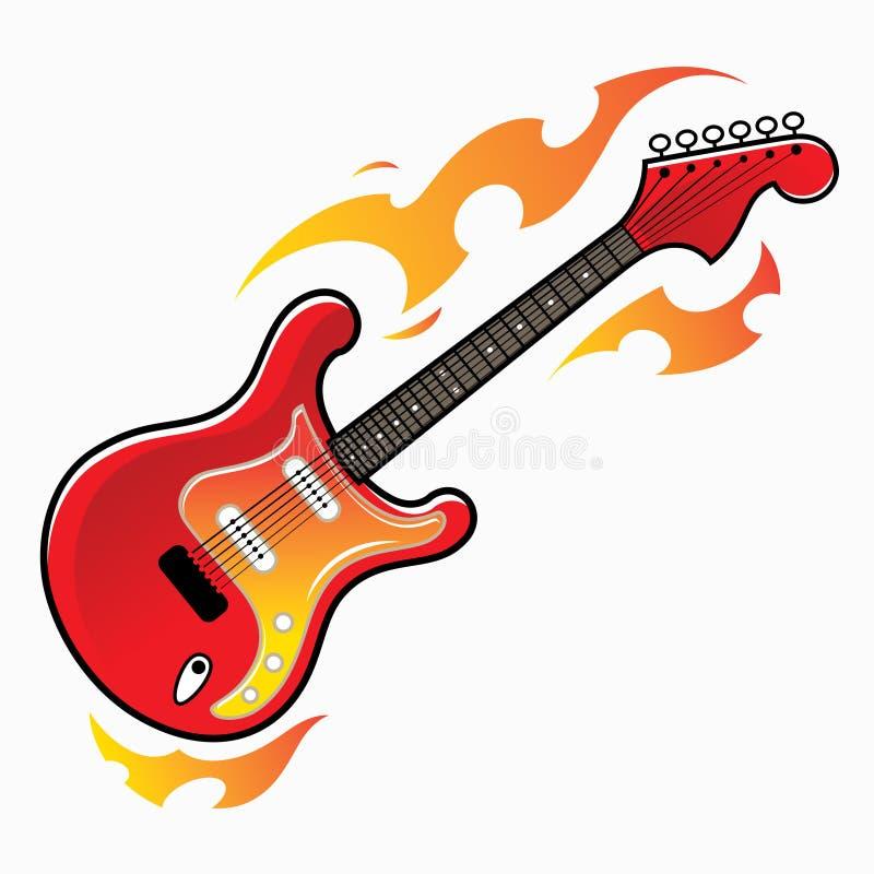 Brinnande röd elektrisk gitarr vektor illustrationer