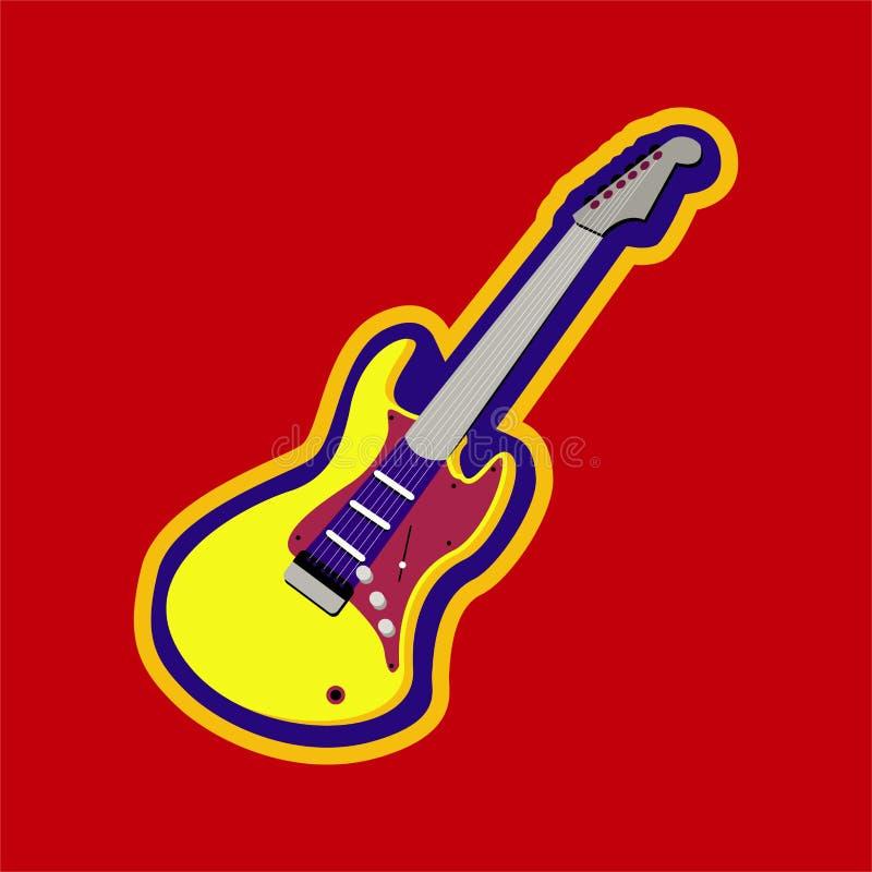 Brinnande röd elektrisk gitarr - musikinstrument royaltyfri illustrationer