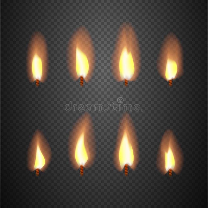 Brinnande ramar för vektor för animering för stearinljusflamma vektor illustrationer