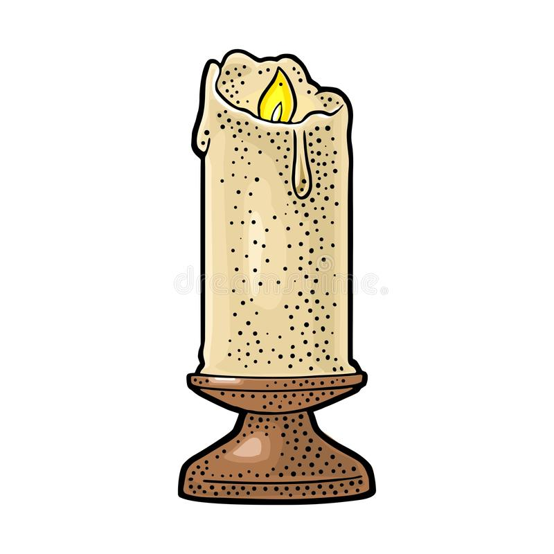 Brinnande stearinljus med hållare- och brandflamman Tappningvektorgravyr stock illustrationer