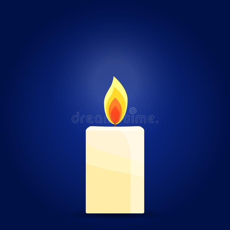 Brinnande stearinljus på mörk bakgrund stock illustrationer