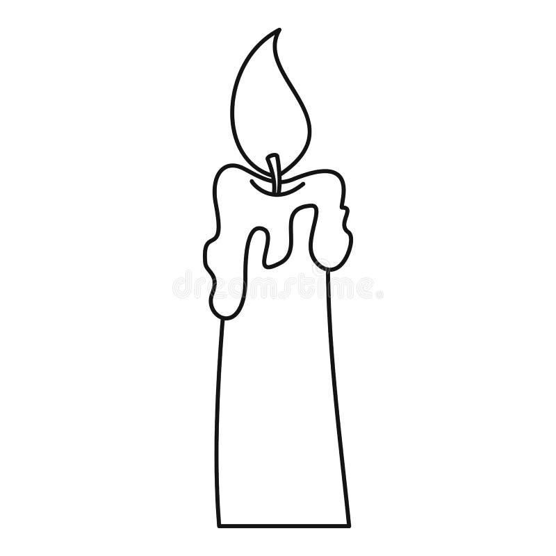 Brinnande stearinljussymbol, översiktsstil royaltyfri illustrationer