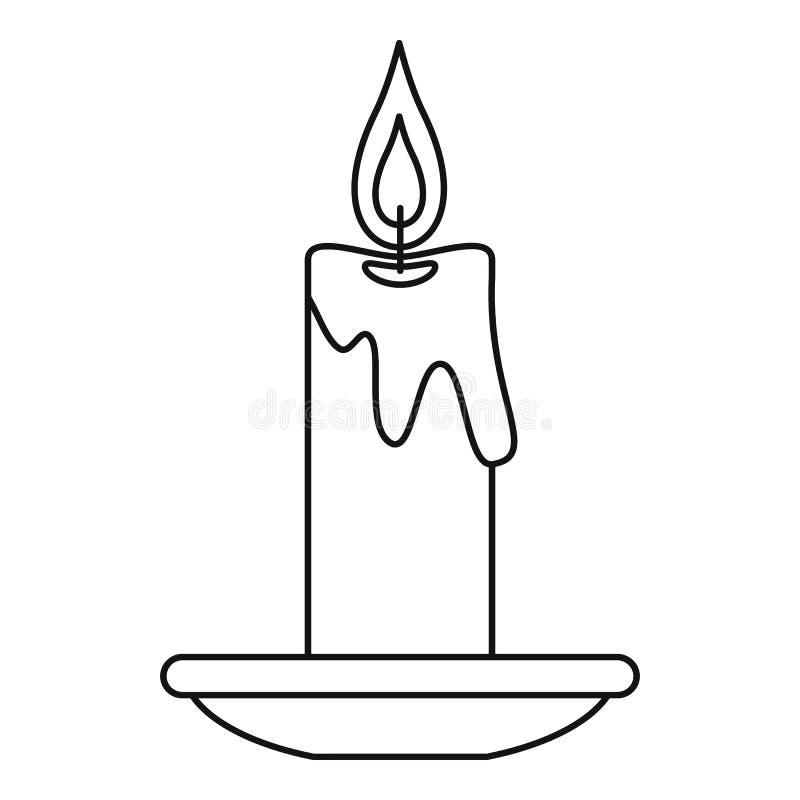 Brinnande stearinljussymbol, översiktsstil stock illustrationer