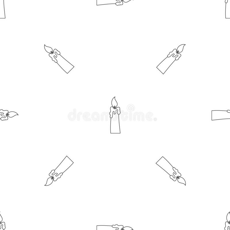 Brinnande stearinljussymbol, översiktsstil vektor illustrationer