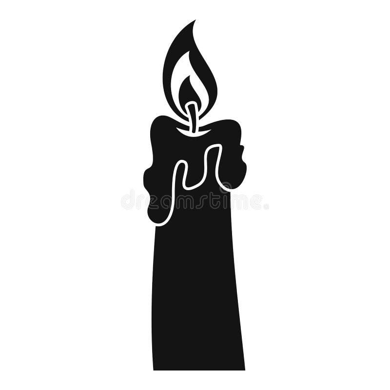 Brinnande stearinljussymbol, enkel stil royaltyfri illustrationer